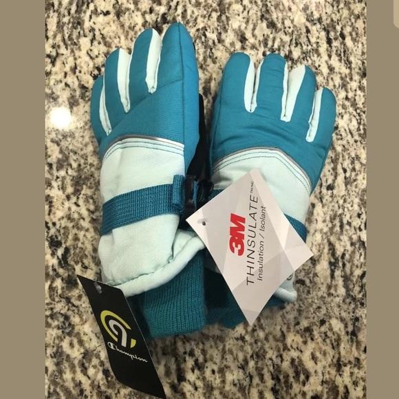 Kids Girls Champion C9 Ski Gloves Mittens Waterproof Insulated Pink//Teal NWT